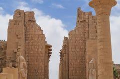 Ancient Hieroglyphs Karnak Temple column Egypt stock image