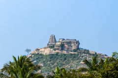 Ancient hilltop temple in Southern India. stock photo
