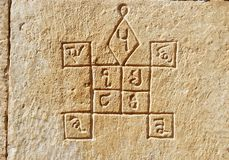 Ancient hindu astrology symbols on the wall,Jaisalmer,india Royalty Free Stock Images