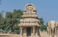 Taken at Five Rathas at Mahabalipuram, with temple and Elephant royalty free stock photos