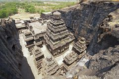 Ellora Caves - India - Ancient Hindu Rock Temple Stock Images