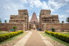 Ancient Hindu temple in India - full frontal view Stock Photography