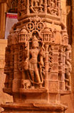 Ancient Hindu Temple. Intricate carvings on a stone wheel in the Jain temple at Jaisalmer Royalty Free Stock Photos