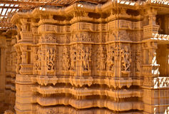 Ancient Hindu Temple. Intricate carvings on a stone wheel in the Jain temple at Jaisalmer Royalty Free Stock Image
