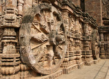 Ancient Hindu Temple at Konark (India). Intricate carvings on a stone wheel in the ancient Surya Hindu Temple at Konark, Orissa, India. 13th Century AD Royalty Free Stock Image