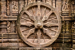 Ancient Hindu Temple at Konark (India). Intricate carvings on a stone wheel in the ancient Surya Hindu Temple at Konark, Orissa, India. 13th Century AD Royalty Free Stock Photography