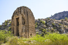 Ancient Hindu temple near Amb Shareef village. The ancient pre-Islamic ancient Hindu temple, is near the Amb Shareef village, on the Sakesar mountain in the Soon Royalty Free Stock Image