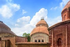 Ancient Hindu terracotta temples of worship of Bengal with copy Royalty Free Stock Image