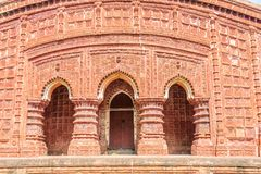 Ancient Hindu terracotta temples of worship of Bengal with copy Royalty Free Stock Photo
