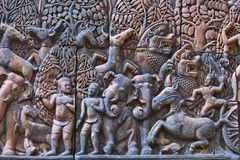 Ancient hinduist bas-relief in Angkor Wat, Cambodia Stock Photos