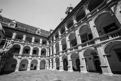 Ancient and historic building in Klagenfurt, Austria. An example of Austrian architecture. Klagenfurt, Austria. Monumental building with arches. Black and white Royalty Free Stock Photos