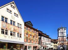 Ancient historic medieval old town. Wangen im Stock Images