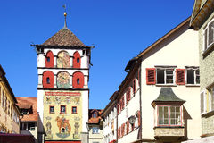 Ancient historic medieval old town. Wangen im Stock Photos
