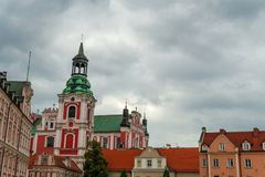 Ancient historical architecture in Poznan city, Poland stock images