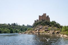 Ancient historical almourol castle view Portugal royalty free stock photos