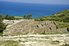 Ancient historical heritage city Kamiros ruins, Rhodes, Greece Stock Photography