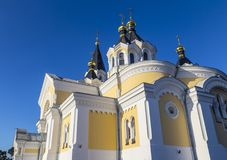 Holy Transfiguration Cathedral. Zhytomyr  Zhitomir . Ukraine. Ancient historical Holy Transfiguration Cathedral on the blue sky background. Architectural Royalty Free Stock Photos