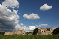 Ancient and Historical Leeds Castle in Kent. Historical Castle in Leeds Kent with Large Fluffy Clouds on a Sunny Day Royalty Free Stock Photography