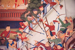 Ancient historical mural painting of the great epic, war battle Stock Images