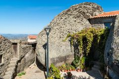 Ancient historical streets with stone houses in Monsanto village. Portugal Royalty Free Stock Photo