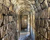 Hallway. Ancient historical Tunnel rock hallway in byblos lebanon Royalty Free Stock Images