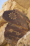 Ancient Hopi Petropglyph Rock Art Wall. Ancient petroglyphs on rock wall found on the Hopi Mesa near Tuba City, Arizona Stock Photography