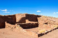 Ancient Hopi pueblo preserved in Arizona`s Homolovi State Park. Ruins of an ancient Hopi ancestral building preserved at Homolovi State Park near Winslow Stock Photos