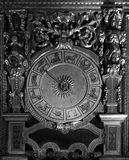 Ancient Horoscope Clock - Black and white Royalty Free Stock Images
