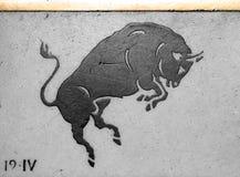 Ancient horoscope sign Taurus stock photo
