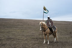 Ancient horseman. Anonymous ancient sarmatian horseman with spear in steppe Stock Photography