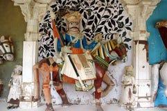 Ancient horseman statue. An ancient warrior horseman statue carving in Marwar, India Stock Photos
