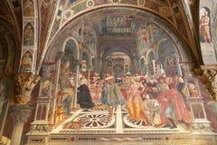 Ancient hospital of Santa Maria della Scala, Siena, Italy. Fresco, the Pope Grants an indulgence by Domenico di Bartolo, 1442-1444, at the ancient Hospital of royalty free stock photos