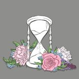 Ancient hourglass and beautiful flowers. Peonies and roses. Vector illustration for a postcard or a poster. stock illustration