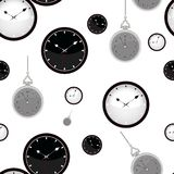 ancient hours nacreous Άνευ ραφής σχέδιο με τα ρολόγια στο άσπρο υπόβαθρο διάνυσμα Στοκ Φωτογραφία