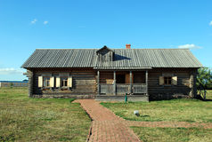 The ancient house from a felling in the Lermontovsky memorial estate `Tarkhany` of the Penza region. Stock Photos