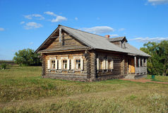 The ancient house from a felling in the Lermontovsky memorial estate `Tarkhany` of the Penza region. Royalty Free Stock Photos