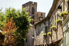 Ancient house in the medieval city of Carcassone, southern Franc Royalty Free Stock Images