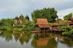 Ancient house and pagoda. Beautiful Thai house at ancient City, Bangkok, Thailand stock photos