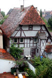 Ancient House in Rothenburg. Ancient red roof houses, Rothenburg ob der Tauber, medieval old town in Germany royalty free stock photo