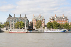 Ancient houses across the river Thames in London Stock Images