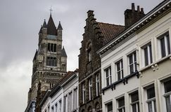 Ancient houses of Bruges stock photo