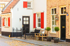 Ancient houses in the Dutch village of Harderwijk Stock Photo