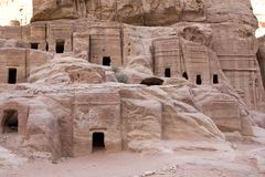 Ancient houses at Petra Jordan. One of the seven new wonders of the world Stock Photos