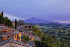 Ancient houses in Pienza in twilight Royalty Free Stock Images