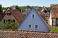 Ancient Houses in Rothenburg ob der Tauber Royalty Free Stock Photo