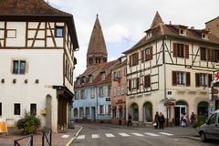The ancient houses in Selestat. Selestat is a commune in the Bas-Rhin department in Alsace, France. The city is one of the richest and most varied in terms of stock photo