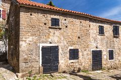 Ancient houses on a stone street in Groznjan village, Istria. Ancient houses on a stone street in Groznjan village, Istria, Croatia, Europe royalty free stock photo