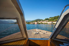 Ancient houses in summer on Orta lake, Orta St. Giulio village, royalty free stock image