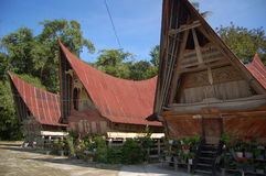 Ancient houses of Tribe Batak stock image