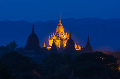 Ancient Htilo MinloPagoda at twilight, Bagan(Pagan). Royalty Free Stock Image
